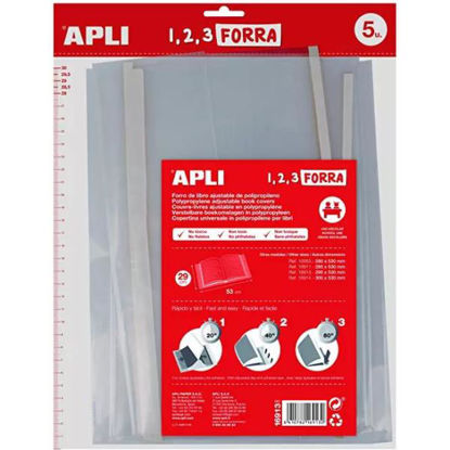 apli16913-forra-libros-ajustable-pp-290mm-5u-75-micras